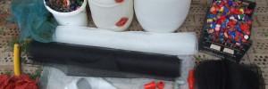 Többlépcsős tószűrő házilag, ülepítéssel és vattás filter részel.